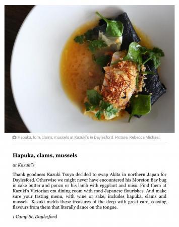 Herald Sun Delicious100 Best Restaurant Dishes 2017