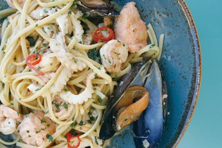 Seafood linguine with calamari, fish, mussels, prawns, chilli & parsley  $29.5