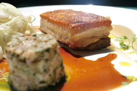 """14 hour Greenvale Farm rare breed pork belly"" with shaved fennel, granny smith apple sauce and pork rillettes  $37"