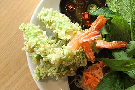 Green rice fried Tiger prawns