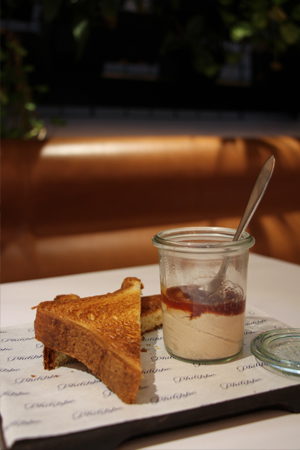Quail & Foie gras parfait, red currant & orange ginger jam, toasted brioche