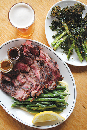 Beef rump $14.5 per 100g and Broccolini, cumin, chili $10.5